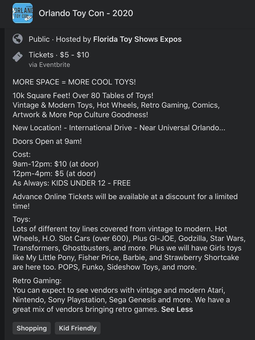 Orlando Toy Show Facebook